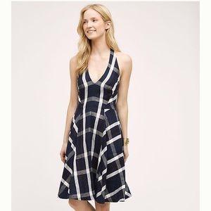 Anthropologie Eva Franco Navy Plaid Halter Dress